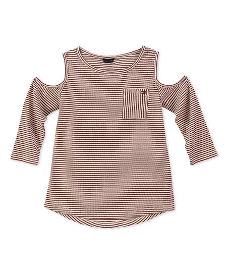 032cd53202d3e Tommy Hilfiger Egret Stripe Pocket Cold-Shoulder Top - Girls