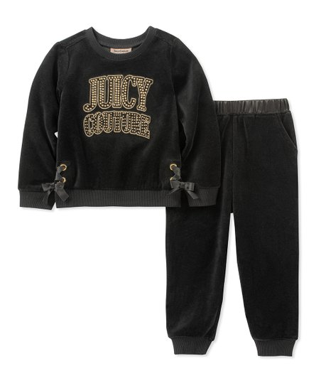 8a72912f91e0 love this product Black  Juicy Couture  Bow-Accent Velour Sweatshirt    Sweatpants - Infant   Girls