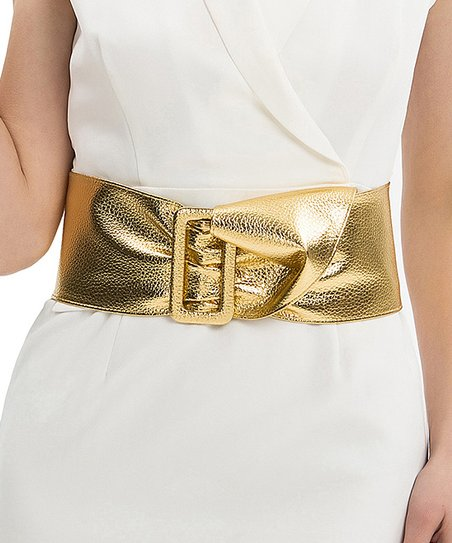 d97020459 love this product Metallic Gold Wide Buckle Elastic Waist Belt