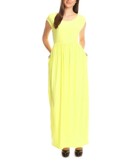 Bellaberry Usa Yellow Fit Flare Cap Sleeve Maxi Dress Women