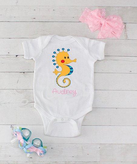 94bb9c88d love this product White   Pink Seahorse Personalized Bodysuit   Sandals Set  - Newborn   Infant