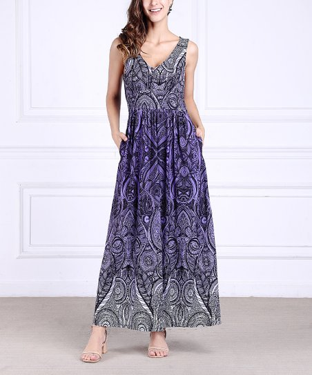 8c28afdf5e22 love this product Purple Floral Sleeveless V-Neck Maxi Dress - Women