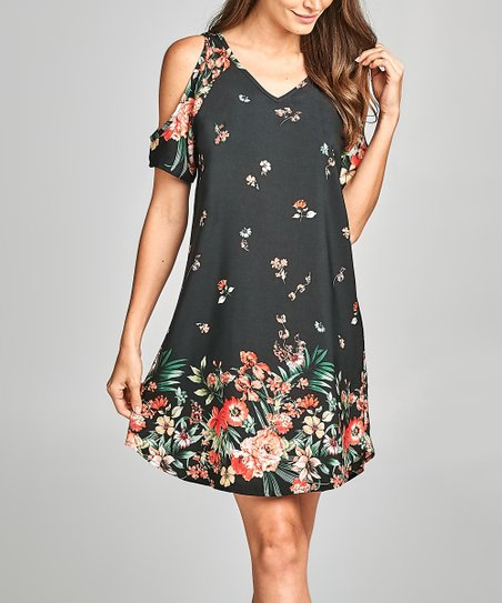 c5d378918cd12 Paolino Black Floral Cold-Shoulder Dress - Women