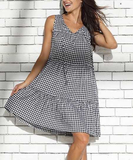 aec88932684 love this product Black   White Gingham Tie-Front Tiered Dress - Women    Plus