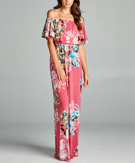 41f6a3f717 love this product Hot Pink Floral Off-Shoulder Maxi Dress - Women
