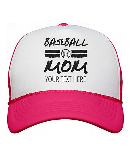 46e8a2032b3fb love this product White   Neon Pink  Baseball Mom  Personalized Trucker Hat