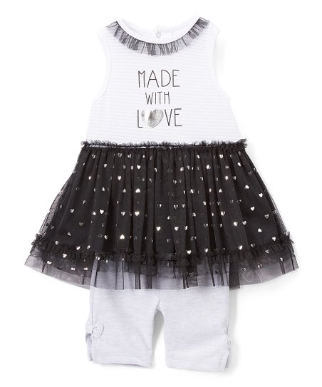 Bon Bb Black White Stripe Made With Love Babydoll Dress Capris