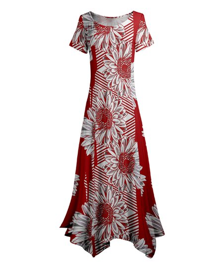 ceaed3f14ee love this product Red   White Blossoms Stripe Handkerchief Maxi Dress -  Women   Plus