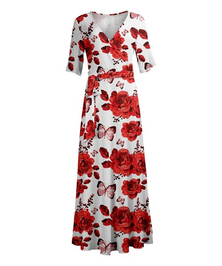 4ba809766b1 love this product White   Red Roses V-Neck Maxi Dress - Plus