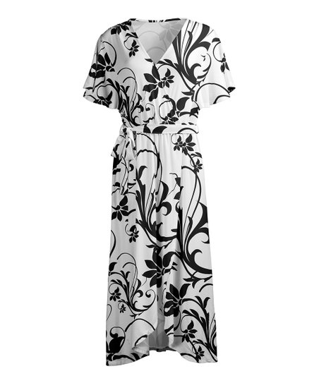 acb731dc9b48b love this product White   Black Floral Scroll V-Neck Belted Wrap Dress -  Women