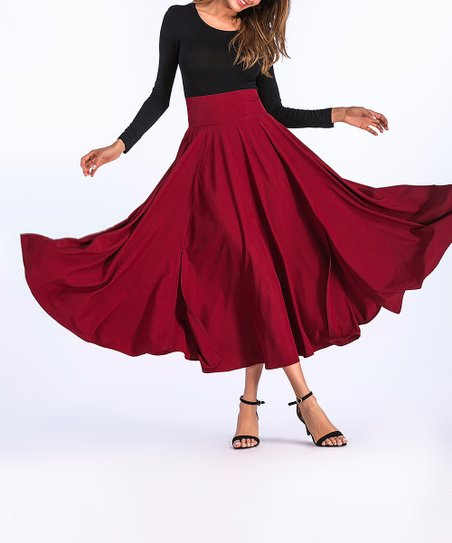 f5f6ff1f6cd0 Coeur de Vague Red Pocket Pleated Midi Skirt - Women | Zulily