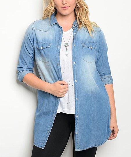 c90f67d35 love this product Medium Blue Denim Button-Up Tunic