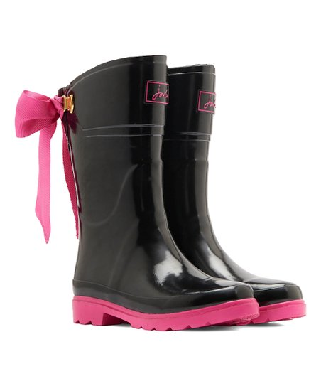 Black Rain Boots With Bow