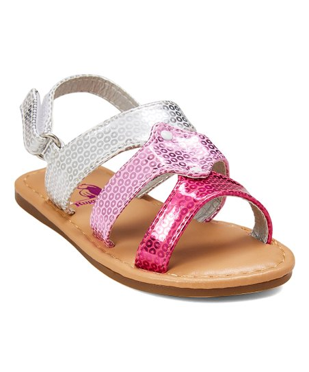 1fff603ee93b love this product Pink & Silver Sequin Sandal - Girls