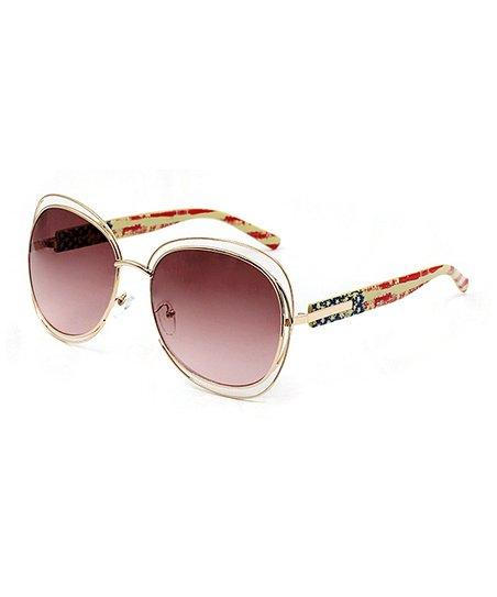 2a139df8b45 love this product Goldtone   Smoke Stars   Stripes Oversize Sunglasses -  Women
