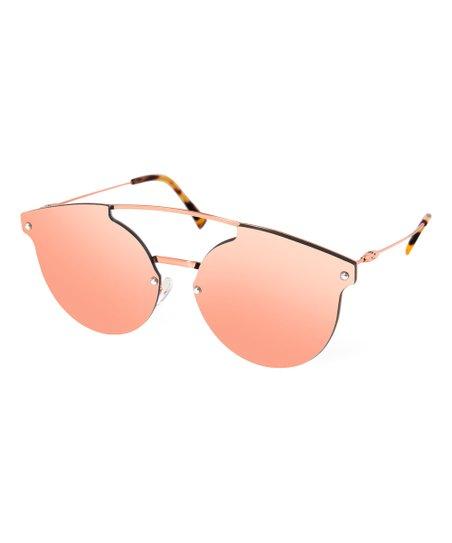 3e62e3a4a7 love this product Pink   Rose Goldtone Mirror Modified Aviator Sunglasses