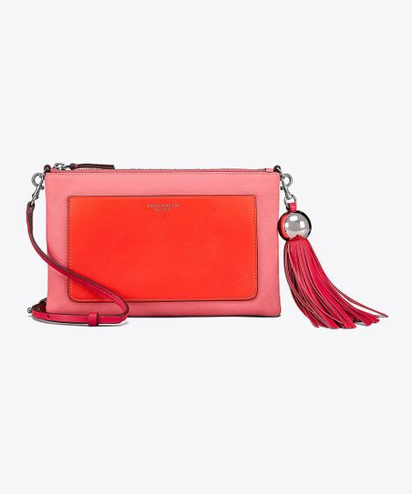 9c820973bc2 Tory Burch Bright Azalea Color-Block Leather Tassel Crossbody Bag ...