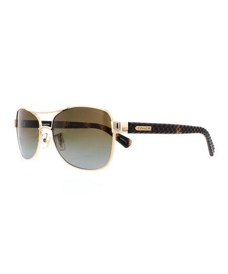 85b7f9b4b Coach Dark Tortoise & Brown Gradient Polarized Aviator Sunglasses ...
