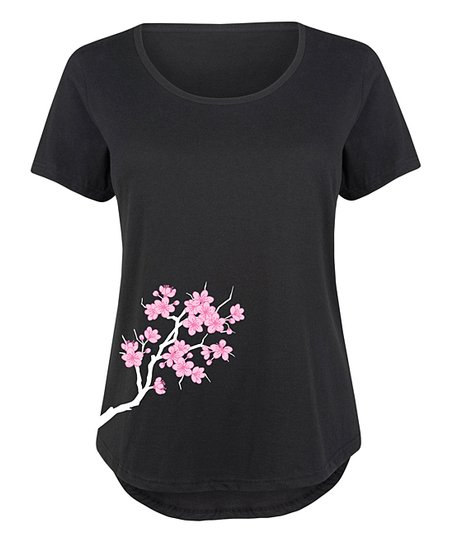 Black Cherry Blossom Side Hit Scoop Neck Tee