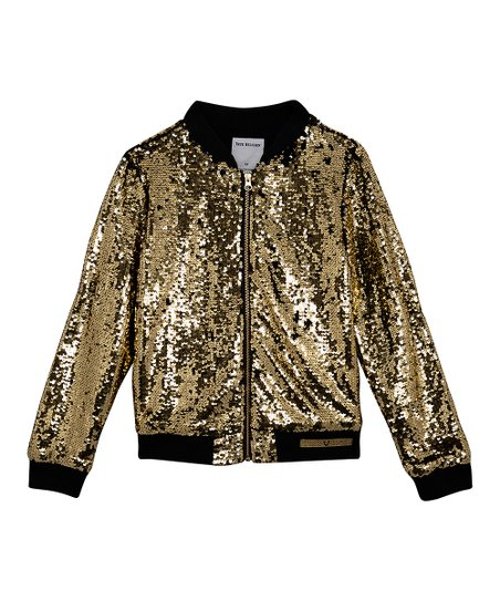 c8d82b45 love this product Black & Gold Sequin Bomber Jacket - Toddler & Girls