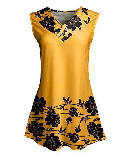 87b4dd48da9a love this product Gold & Black Modernist Floral Crossover-Neck Sleeveless  Tunic - Plus