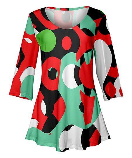 Lily Red Green Abstract Shapes Curve Hem Scoop Neck Tunic