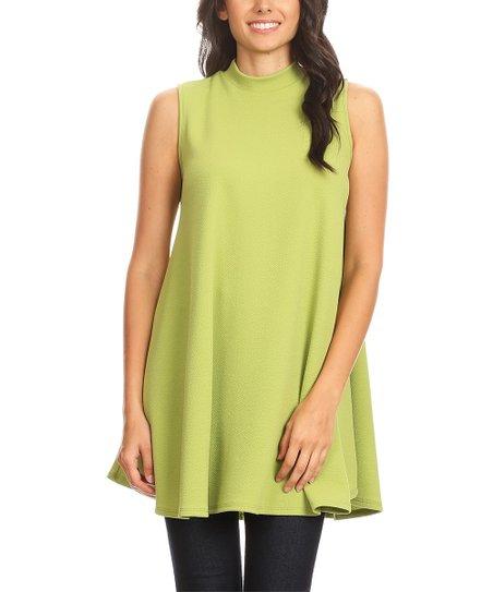 c61fd76180c BellaBerry USA Lime Mock Neck Sleeveless Tunic - Women | Zulily