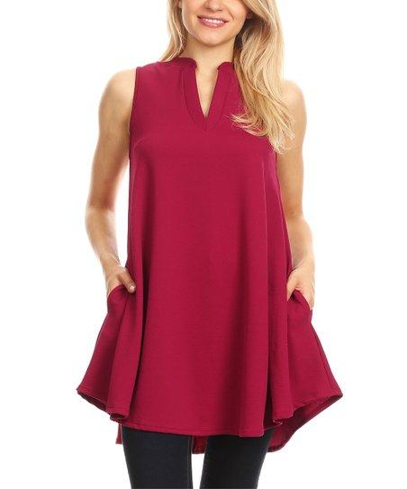 e4fdcc167ad BellaBerry USA Berry Mock Neck Sleeveless Tunic - Women & Plus | Zulily