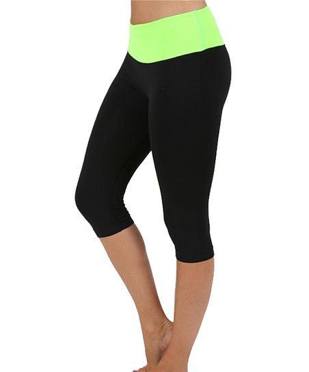 f048fc200c99d Active USA Black & Neon Green Active Capri Leggings - Women | Zulily