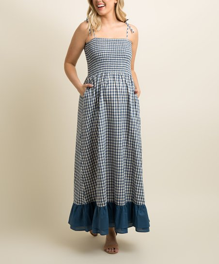 Pinkblush Maternity Blue Gingham Smocked Top Maternity Maxi Dress Best Price And Reviews Zulily