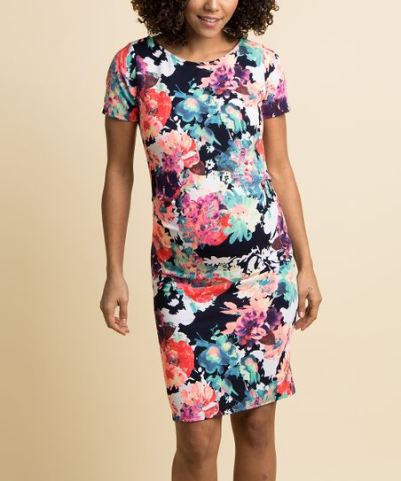 92c087b709ff PinkBlush Maternity Navy & Neon Floral Maternity Bodycon Dress | Zulily
