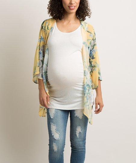 33a590b4e558 PinkBlush Maternity Yellow Floral Bell-Sleeve Maternity Kimono | Zulily