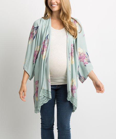 PinkBlush Maternity Mint Green Floral Lace-Trim Maternity Kimono ... e2343dc16