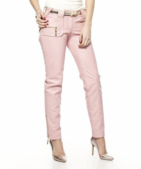 29142c00ba1f8a love this product Pink Zip Pocket Leather Pants - Women