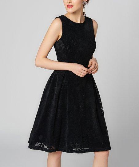 Pakta Woman Black Floral Sleeveless A Line Dress Women Zulily