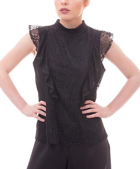 1de0de382f7e54 Giorgal   Zada Boutique Black Lace Ruffle Mock Neck Top - Women