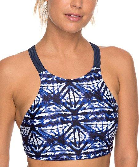 3d2433f199fc6 Dress Blues Geometric Roxy Fitness Crop Bikini Top - Women | Zulily