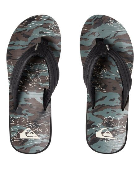 3d8274eac6 Quiksilver Black & Gray Carver Flip-Flops - Men