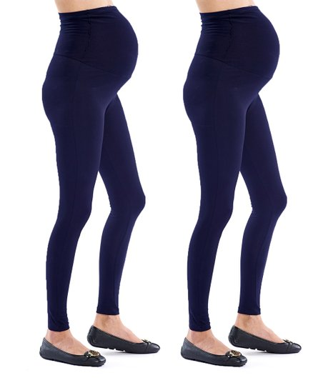 d1ebcc45457 Polkadot Maternity Navy Maternity Leggings Set - Plus Too