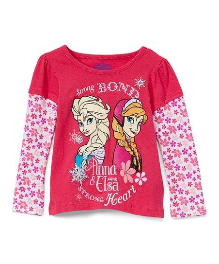 Disney Frozen Elsa /& Anna Strong Bond Strong Heart Girls T-Shirt Top White