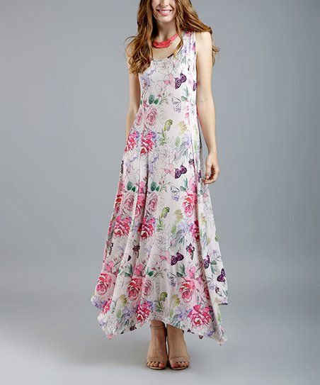 d581533cacf love this product White   Pink Floral Sleeveless Handkerchief Dress - Women