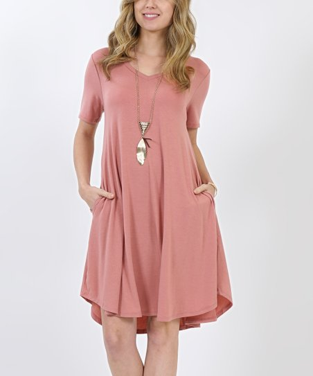 8a70bc4a1c2 love this product Dusty Rose V-Neck Short-Sleeve Curved-Hem Pocket Tunic  Dress - Women