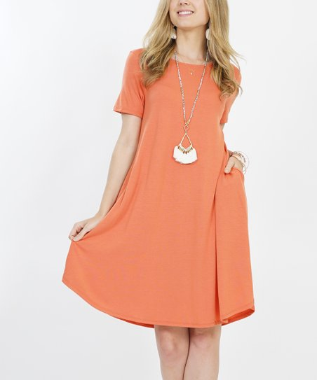2ce9ebb60530 love this product Ash Copper Crewneck Short-Sleeve Curved-Hem Pocket Dress  - Women