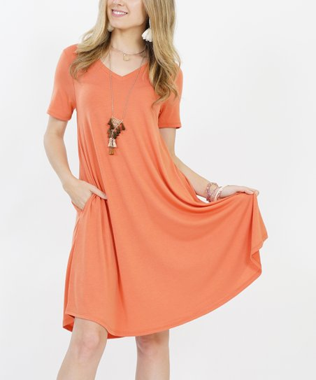 0d57f978695b love this product Ash Copper V-Neck Short-Sleeve Curved-Hem Pocket Dress -  Women & Plus