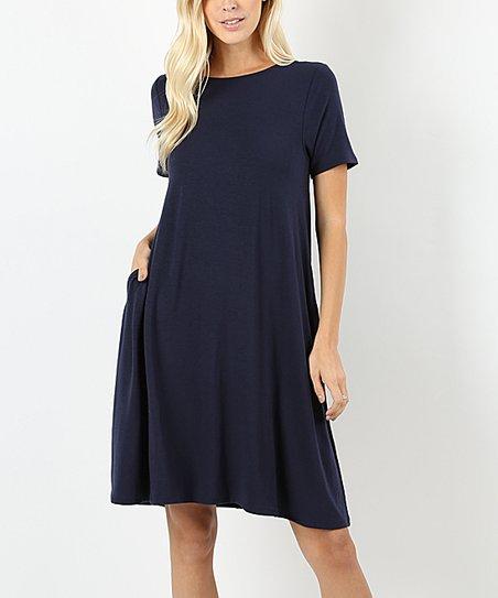 81ea80ec98d love this product Navy Pocket Short-Sleeve Shift Dress - Women