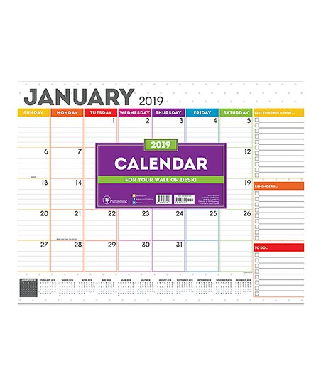 TF Publishing Rainbow 2019 12 Month Desk Blotter Calendar