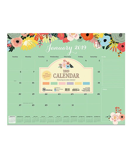 TF Publishing Floral 2019 12 Month Desk Blotter Calendar