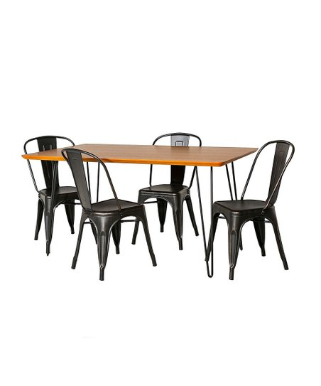 Walker Edison Rectangle Five-Piece Hairpin Table Café Dining Set ... 2441bbbfb