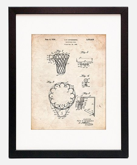 abe5b8aa1685 Patent Prints Vintage Parchment Basketball Net Framed Patent Print ...