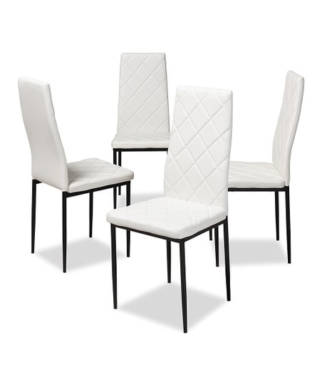 Astounding Baxton Studio White Blaise Modern Upholstered Dining Chair Set Of Four Unemploymentrelief Wooden Chair Designs For Living Room Unemploymentrelieforg